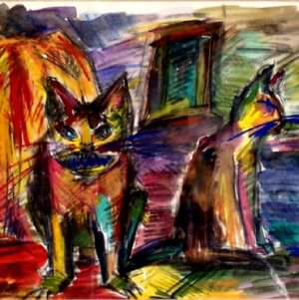 moderne Malerei mit Pastellen und Ölpastellen