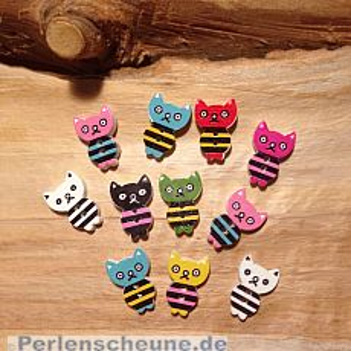 10 hübsche Knöpfe aus Holz 16 mm Katze