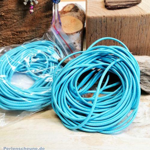 5 m gewachste Perlschnur Paracord 2 mm türkis blau