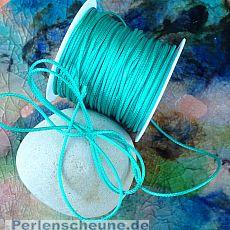 10 m auf Rolle Perlschnur 1 mm gewachste Baumwolle türkis