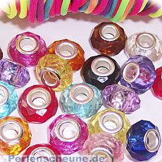 20 Modulperlen Kinderperlen faceted Mix Silberkern Loch 5 mm