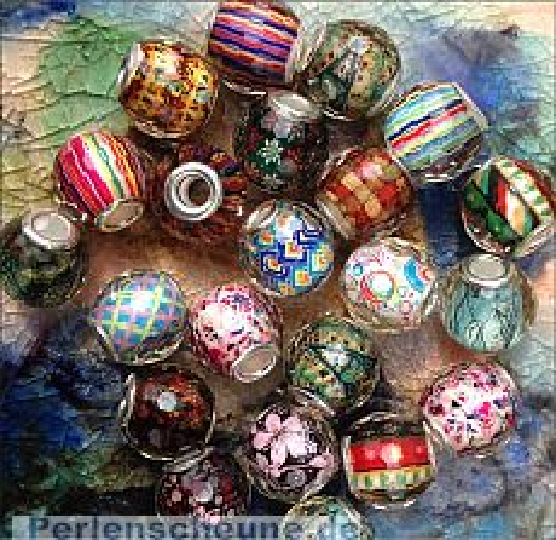 5 besonders große gemusterte Modulperlen mit Silberkern