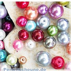 50 Glaswachsperlen bunter Mix 6 - 10 mm Kugelform
