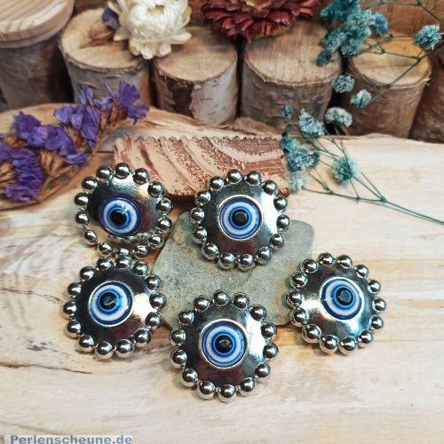 10 große Augenperlen Acrylperlen 31 mm silber blau