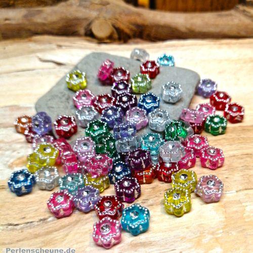 40 schöne Strasseffekt Perlen 6 mm Blumen Mix Kinderperlen bunt