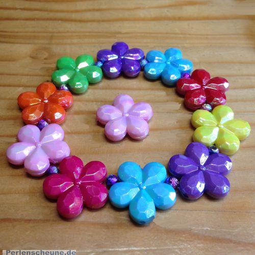 10 große acryl faceted Blumen Mix 20 mm