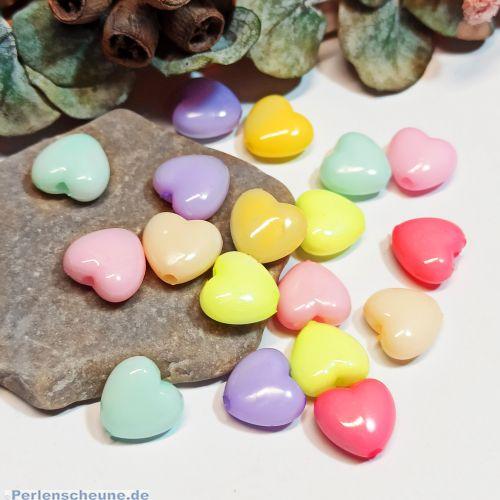 Perlenset Acryl Perlenmix 20 Herzperlen 13 mm Kinderperlen