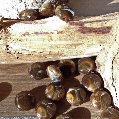 10 große Perlen braunmarmoriert Linsenform