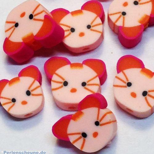 10 Katzen polymer clay Kinder Perlen 12 mm rosa