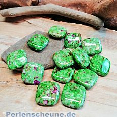 10 Perlen Acryl Quadrat grünmarmoriert 17 mm