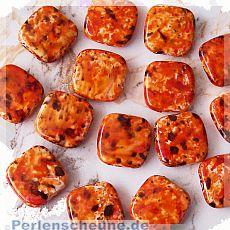 10 große flache Perlen orange marmoriert Quadrat