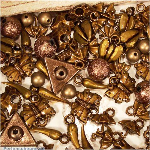 20 Perlen Spacer und Anhänger antik kupfer/bronze