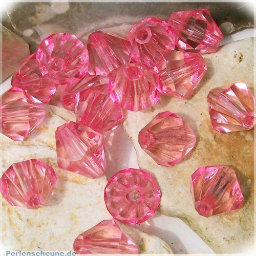 10 schöne große faceted Rhomben Perlen 16 mm rosa