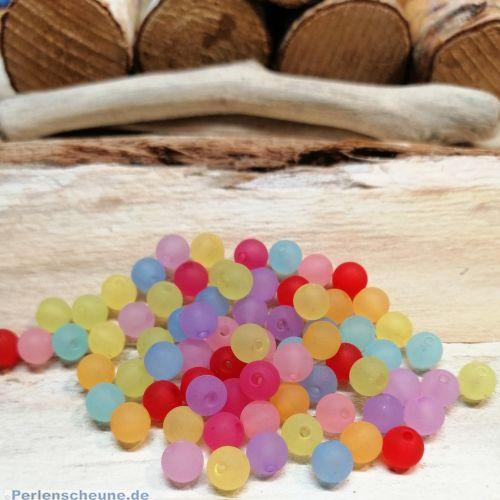 Perlenset mit 40 Acrylperlen gefrostet 6 mm Loch 1 mm