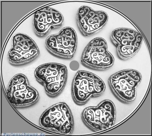 10 antik silberne Perlen Herzen 20 x 18 x 5 mm Silberhochzeit