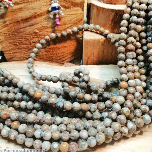 10 Edelsteinperlen rund marmor braun beige 6 mm