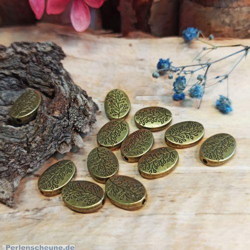 10 Metallperlen Metallspacer Baum 14 x 10 mm bronze antik