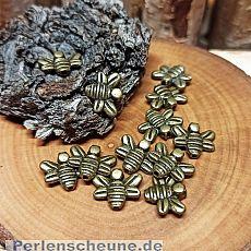 10 Metallspacer Insektperlen Biene bronze antik 14 mm