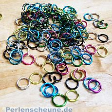 50 bunte Metall Binderinge Spaltringe 6 mm