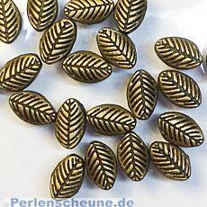 10 Metallperlen Metallspacer Blatt 9 x 6 mm bronze antik