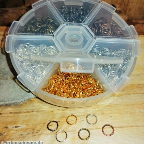 Box mit 1800 Metall Binderingen Spaltringen 6 mm 6 Farben