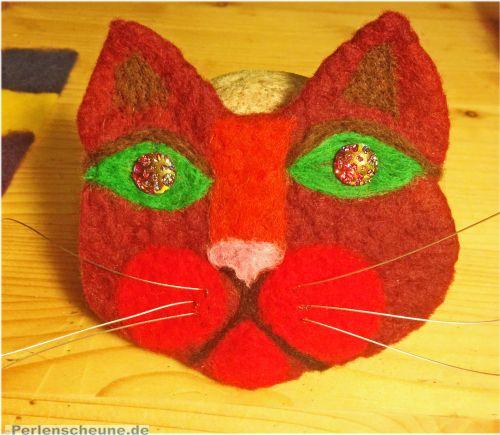 Filzbrosche Katzenkopf rot