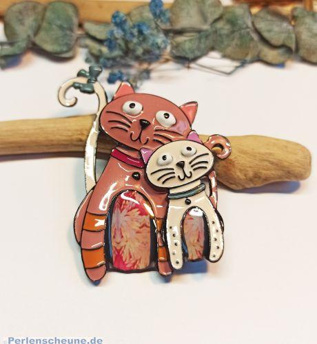 Designer Brosche und Anhänger Katze mit Kitty buntes Emaille