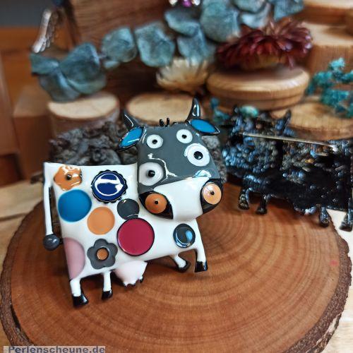 Designer Brosche und Anhänger Kuh buntes Emaille