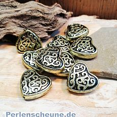 10 Spacer Perlen Herzen 20 mm Acryl gold antik