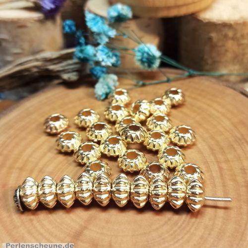 20 Spacer Perlen Rondelle geriffelt 10 mm Acryl Zwischenperlen gold