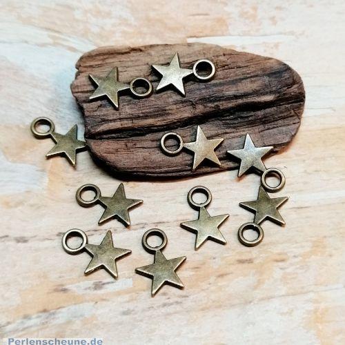 10 Ketten Anhänger Charms Sterne bronze antik 11 mm