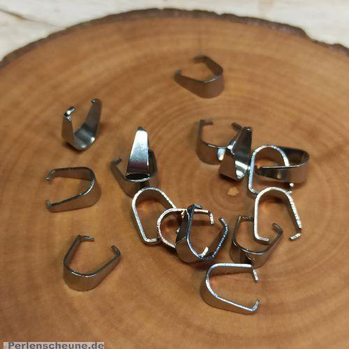 6 Metall Collierschlaufen Anhängerschlaufen für Kettenanhänger silber antik