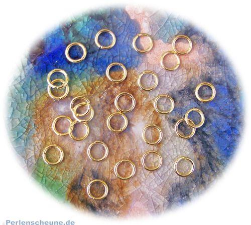 25 Edelstahl Binderinge goldfarbig 6 mm
