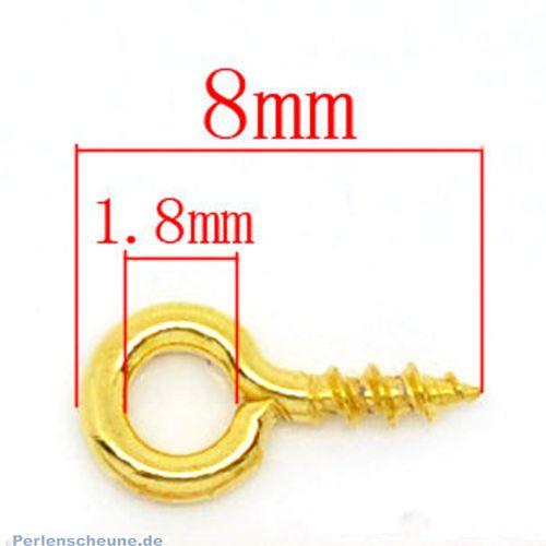 20 kleine Schrauben Edelstahl für Schmuck u.a. gold 8 mm