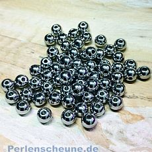 10 Edelstahlperlen Metallspacer 4 mm Kugel dunkel silber