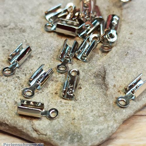 10 Endkappen, Endhülsen für 1-2 mm Lederband o. Perlfaden antik silber