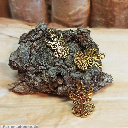 2 Metallanhänger Engel goldfarben 20 mm