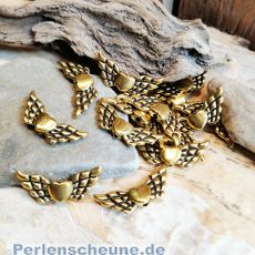 2 Metallperlen Engelflügel goldfarben mit Herz Flügelperlen