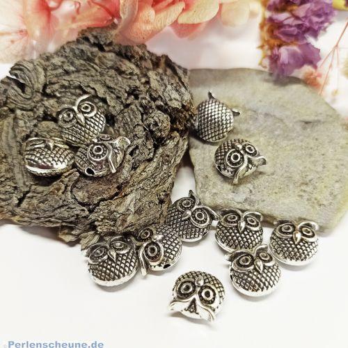 10 Metallspacer Eulenperlen silber antik 11 x 11 mm