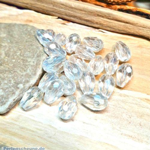 10 Glasperlentropfenperlen geschliffen facettiert 11 mm transparent