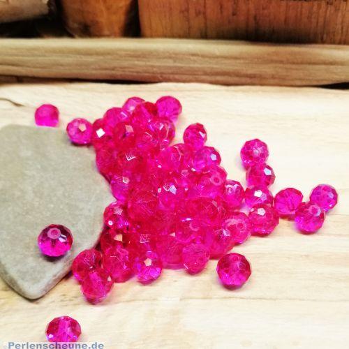 20 Glasperlen geschliffen facettiert Rondelle pink 8 mm transparent