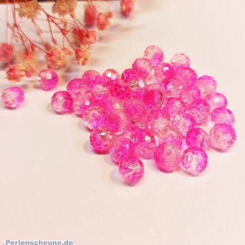 20 Glasperlen geschliffen facettiert Rondelle crackle pink 8 mm Farbverlauf