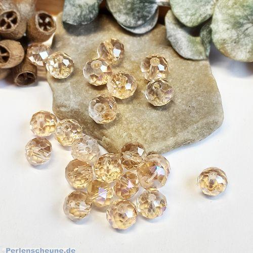 20 Glasperlen geschliffen facettiert Rondelle 8 mm hell champagner