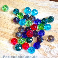 20 geschliffene Glasperlen Abacus Faceted 10 x 7 mm Farbmix