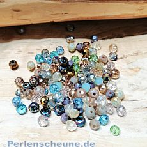 40 Glasperlen Abacus Faceted 4 x 3 mm gemischte Farben