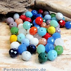 30 Glasperlen Abacus Faceted 8 x 6 mm opak bunt