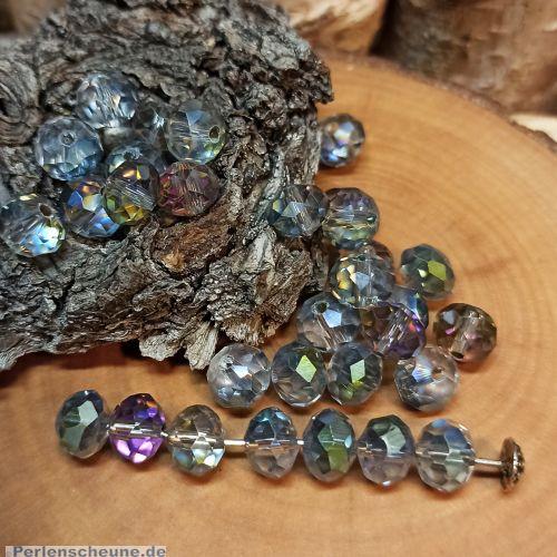 30 geschliffene Glasperlen Abacus Faceted grau 8 x 6 mm feuerpoliert