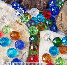 30 Glasperlen Abacus Faceted 8 x 6 mm Perlenmix