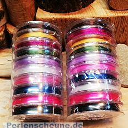 10 x 10 m Perlschnur 0,8 mm 10 Farben elastischer Nylon