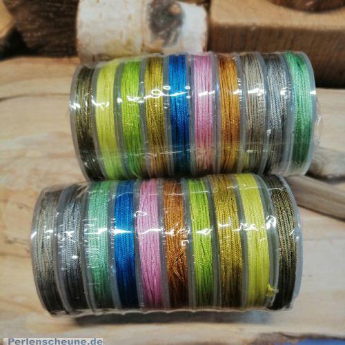 10 x 10 m Perlschnur 0,8 mm 10 Farben Polyester
